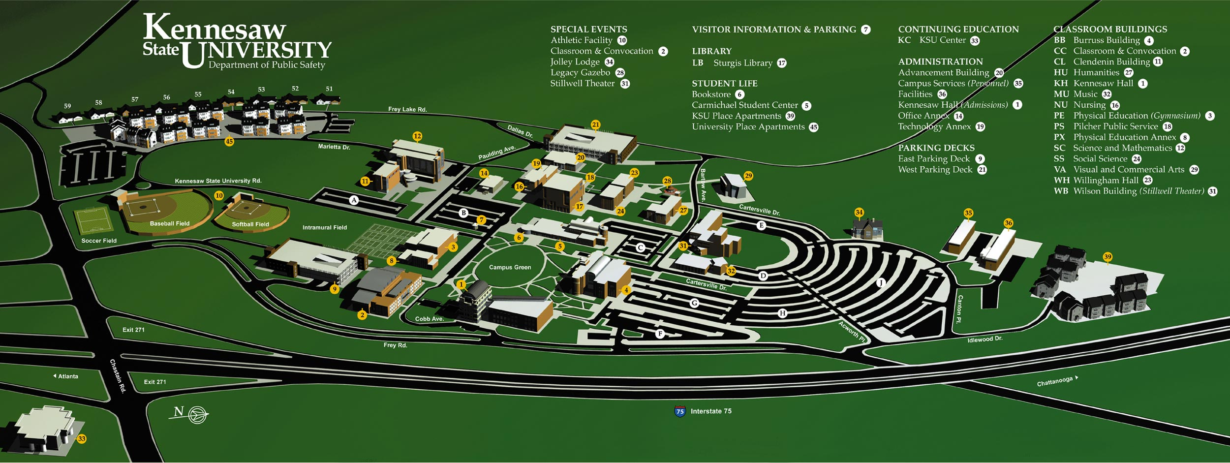 campus map kennesaw state university acalog acmsâ
